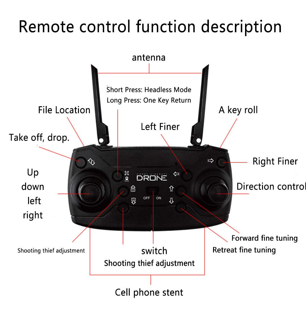 Sdoveb FPV Drone with 1080P HD Wide Angle Camera for Adults RC Quadcotper Helicopter for Kids Beginners 18 Min Flight Time and WiFi Real-time Transmission (Black) by Sdoveb (Image #3)