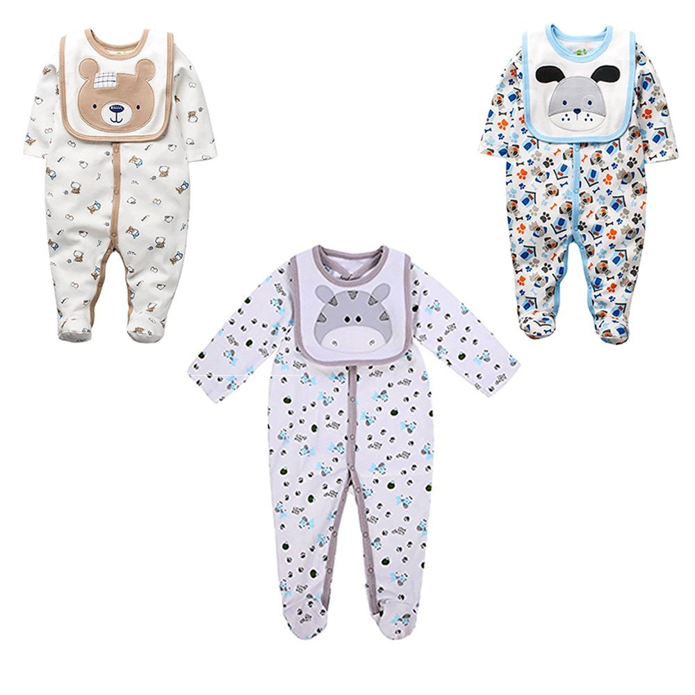 Baby Boys Footed Pajamas 3-Pack Snug-Fit Footed Cotton Romper With Bibs Hisharry1711094