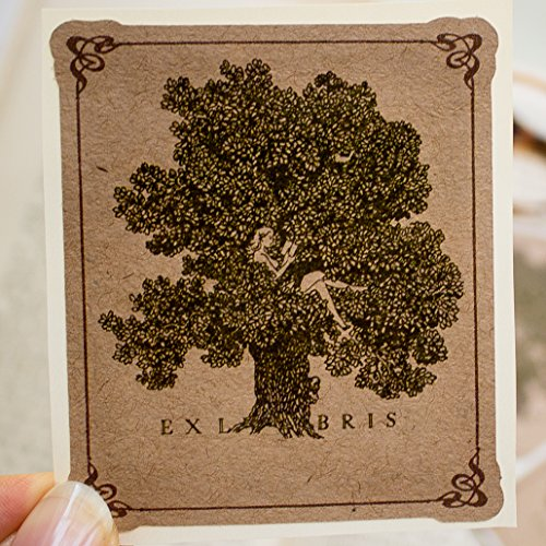 Girl In Tree Bookplate Stickers personalized gift book labels set of ten
