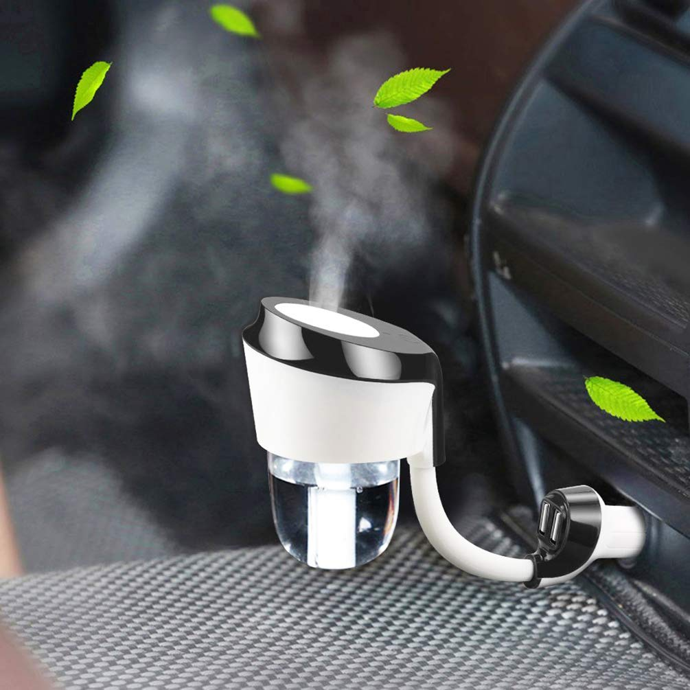 Vyaime Car Diffuser Essential Oil Aromatherapy Diffusers with Dual USB Charger Adapter, Ultrasonic Humidifier Air Refresher Purifier for Vehicle Automobile(Black) by Vyaime