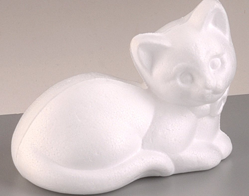 Styrofoam Shapes for Crafts 95mm Polystyrene Resting Cat Shape to Decorate
