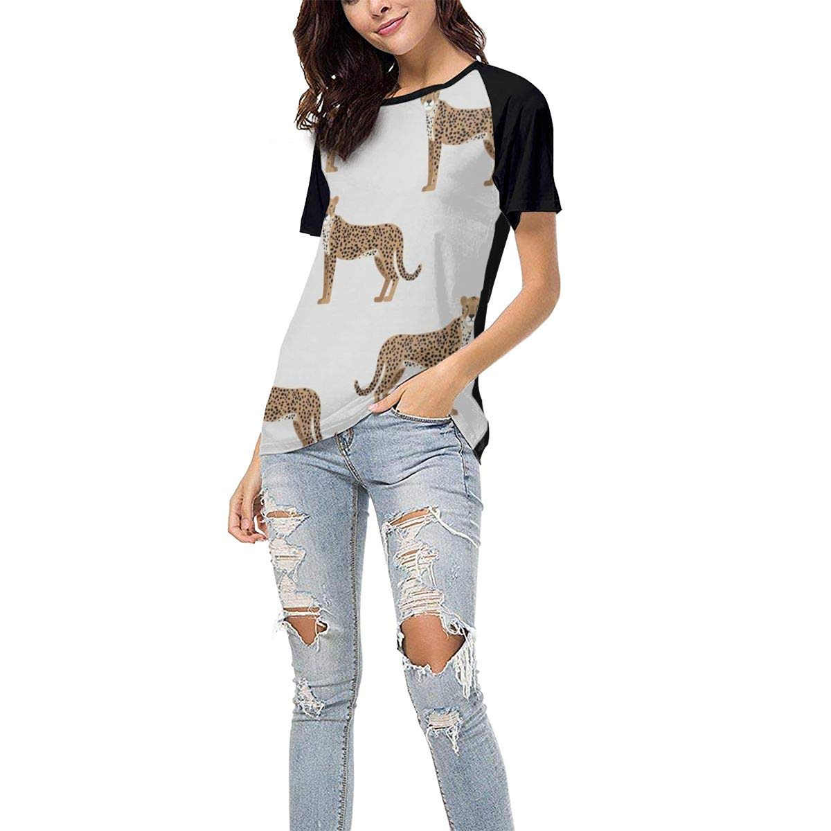 QWXZC Leopard Womens Short Sleeves Baseball Tee Casual Raglan Shirt Baseball Raglan T-Shirt.Black.