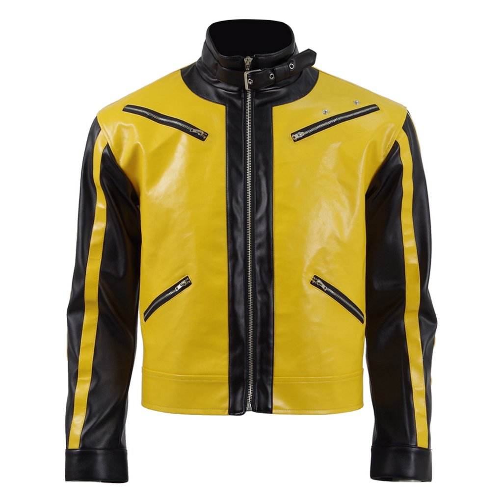 BJ Blazkowicz Cosplay Costume Hot Sale Yellow Leather Flight Jacket Coat Top (XL, Man)