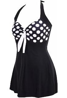 942cc81bde8f3 AMAGGIGO Women's Polka Dot One Piece Swimsuit Tummy Control Swimwear  Swimdress with ...