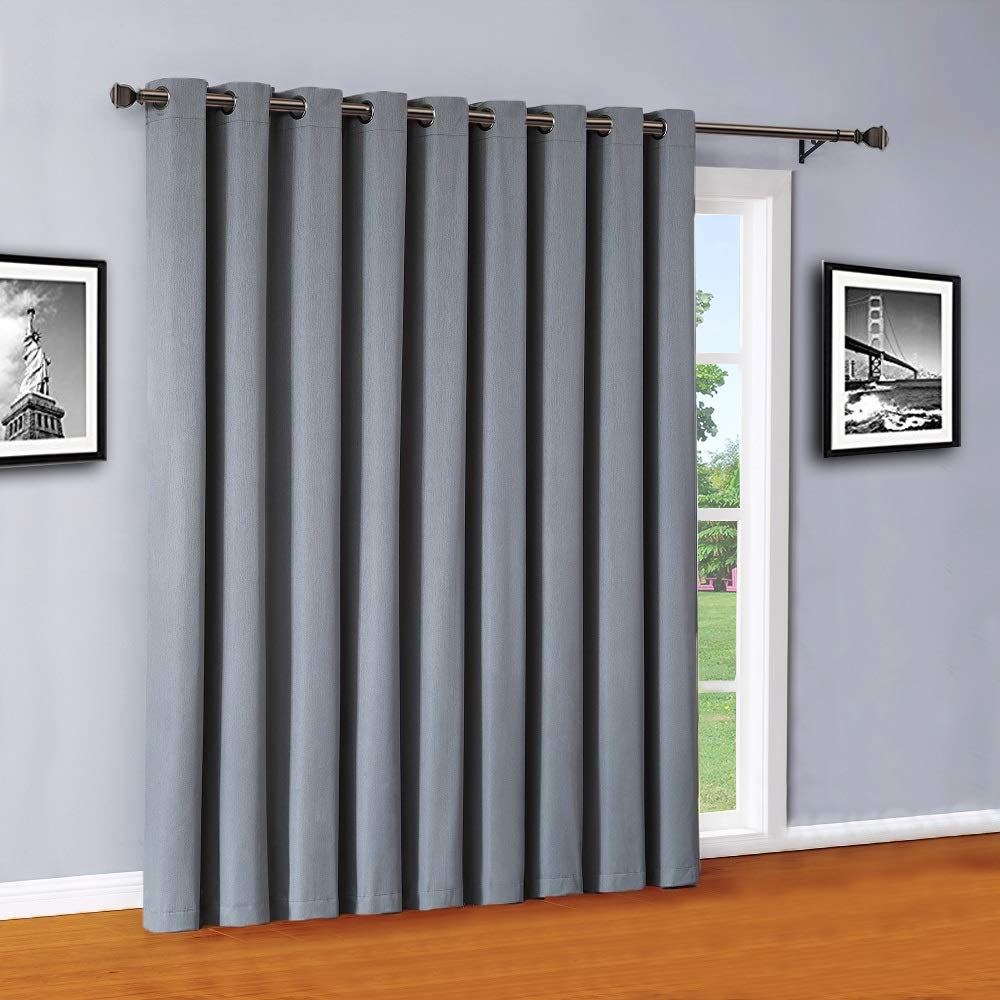 Warm Home Designs Extra Large 110'' x 84'' Panel of Dusty Blue (Slate) Color 100% Blackout Insulated Patio Door Curtains. Use As Sliding Door Drape Or As Room Divider. MA Dusty Blue Patio 84