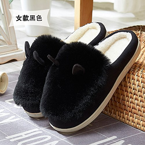 Y-Hui otoño e invierno con zapatillas de algodón grueso saco de deslizamiento inferior Home Furnishing home Zapatos caliente,38/39 (adecuado para 37/38 Pie de desgaste), Negro (Prohibición Bao)