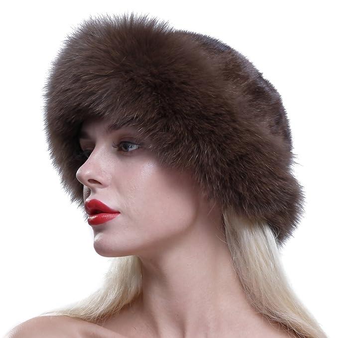 URSFUR cappello bombetta invernale da donna in capelli di visone e volpe 7a0f04da3ec7