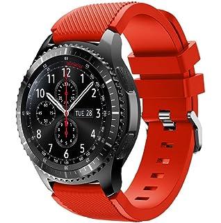 Correas para relojes Samsung Gear S3 Frontier Banda de pulsera de silicona deportiva saisiyiky (Rojo