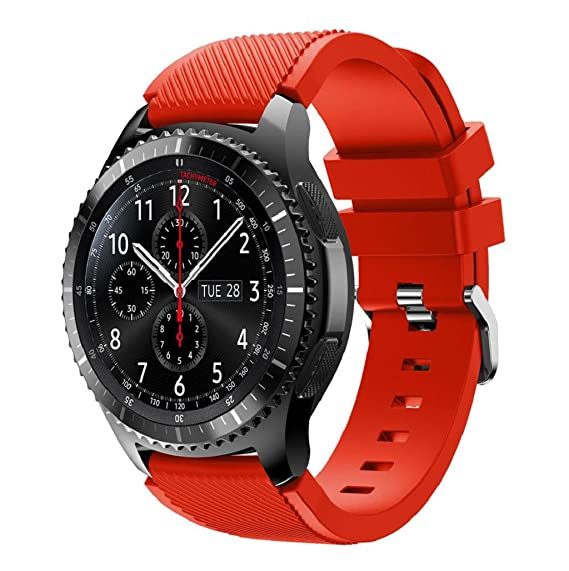 Correas para relojes Samsung Gear S3 Frontier Banda de pulsera de silicona deportiva saisiyiky (Rojo)