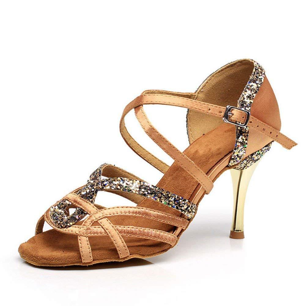 ZHRUI Lateinamerikanische Tanzschuhe der Frauen weiche untere Tanzschuhe Sandale Sandale Sandale Ballsaal Tanzschuhe (Farbe   Braun Größe   Foot Length=22.8CM9Inch) b8de6b