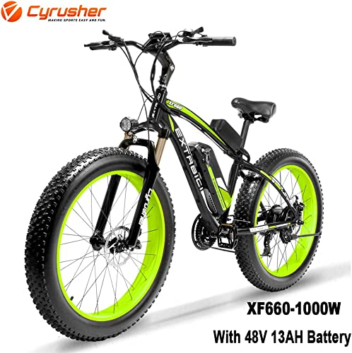 Cyrusher XF660 26inch Snow Beach Fat Tire e Bike 1000W Motor 48v 13ah Battery Electric Mountain Bike 7 Speeds Shifting System with Disc Brakes and Suspension Fork Removable Lithium Battery