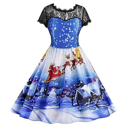 Christmas Party Dresses, SOMESUN La stampa di Natale delle donne merletta i vestiti da partito dell'...