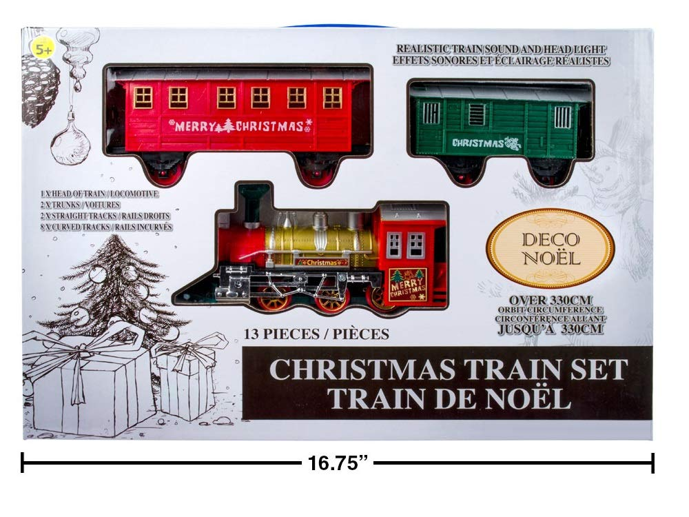 Christmas Train Set with Realistic Train Sound and Headlight - 13 Pcs CTG