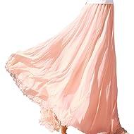 chouyatou Women's Ankle Length Chiffon Elastic Bohemian Flowy Maxi Skirt