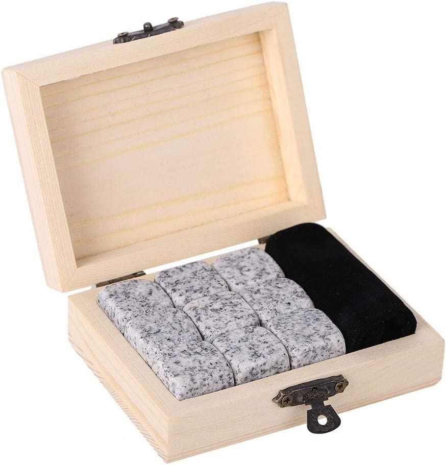 Whiskey Stones Gift Set in Box with 9 Whiskey Rocks,Whisky Ice Cube Cool Pure Soapstone Drinks Beverage Chilling Stones with Handmade Wooden Box (White)