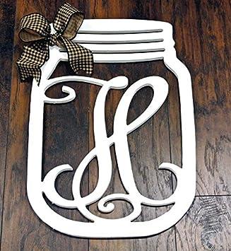 amazon com wooden monogram mason jar initial wall decoration