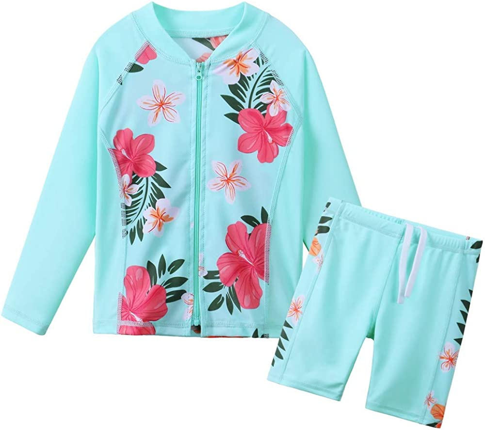 Tankini Rash Guard Suit Two Piece Butterfly Print Swimwear 4-12Y TFJH E Kids Girls Swimsuits UPF 50