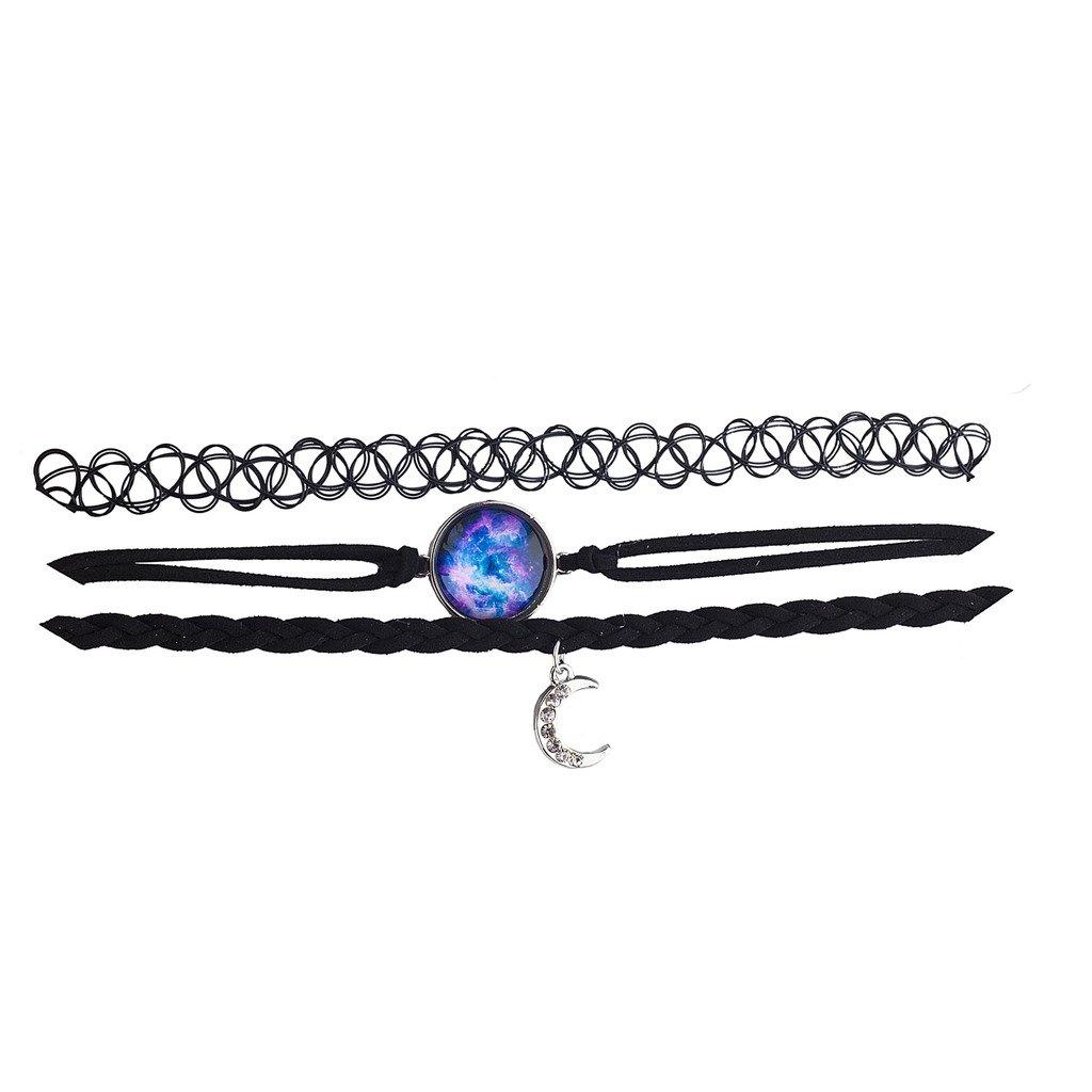 Lux Accessories Black Tattoo Suede Rhinestone Moon Galaxy Celestial Choker 3pc