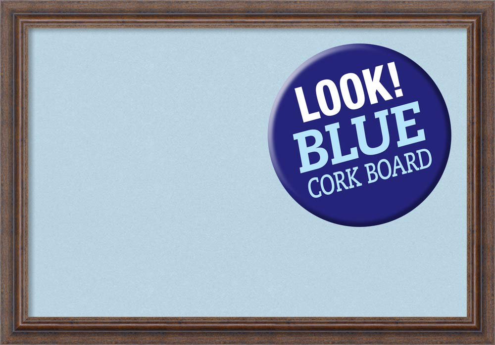 Amanti Art Medium, Distressed Outer Size 27 x 19 Framed Blue Cork Board Med, Rustic Brown