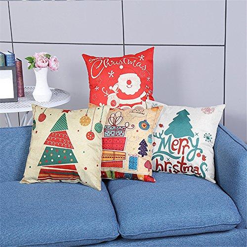 4Pcs Soft Square Pillowcases Merry Christmas Theme Santa Claus Home Decorative Canvas Cotton Throw Pillow Covers 18