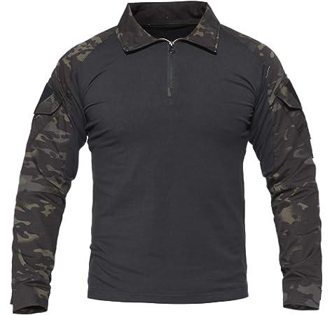 KEFITEVD Camisa de Camuflaje Hombres Flecktarn BDU Táctico Uniforme Woodland Entrenamiento Juego de Guerra Camisa Militar Transpirable Gris S (Etiqueta: L): Amazon.es: Deportes y aire libre