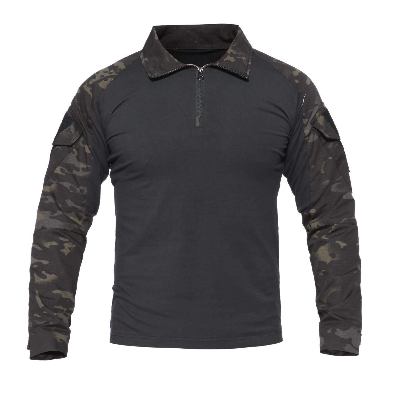 7VSTOHS Chemises /à Manches Longues pour Hommes Sports de Plein air Chasse Randonn/ée Shooting Shirts Chemises Slim Fit de Combat Militaire