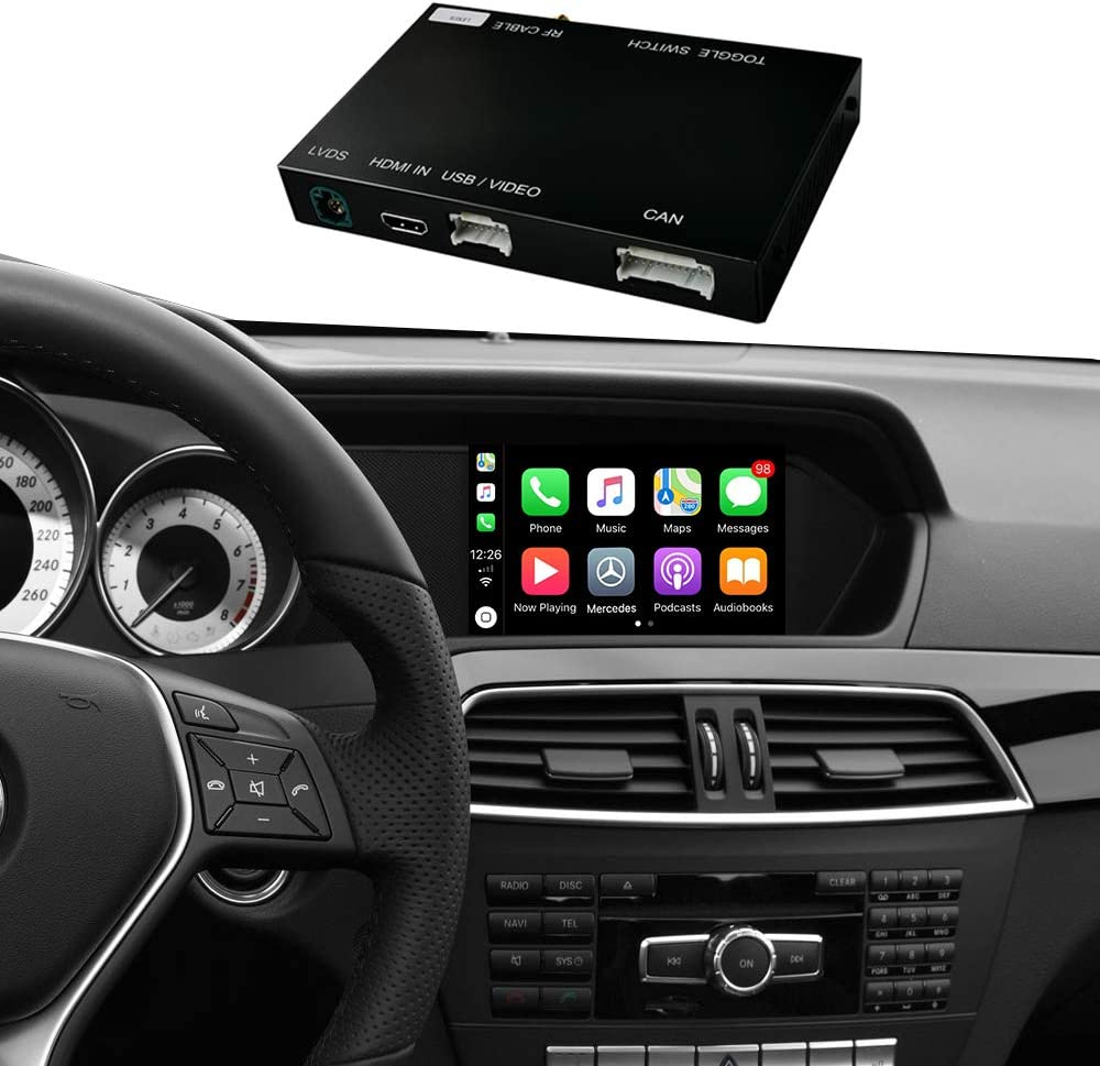 Road Top Retrofit Kit Decoder with Apple Wireless CarPlay & Android Auto Mirror Link Navigation Functions for Mercedes Benz C Class W204 C180 C200 C250 C300 C350 C63 AMG 2011-2014 Year