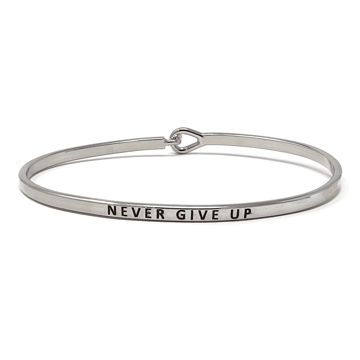 """Never Give Up"" Inspirational Hook Bangle Bracelet"