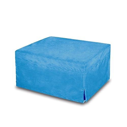NOVA_FURNITURE Folding Ottoman Sleeper Guest Bed,Blue