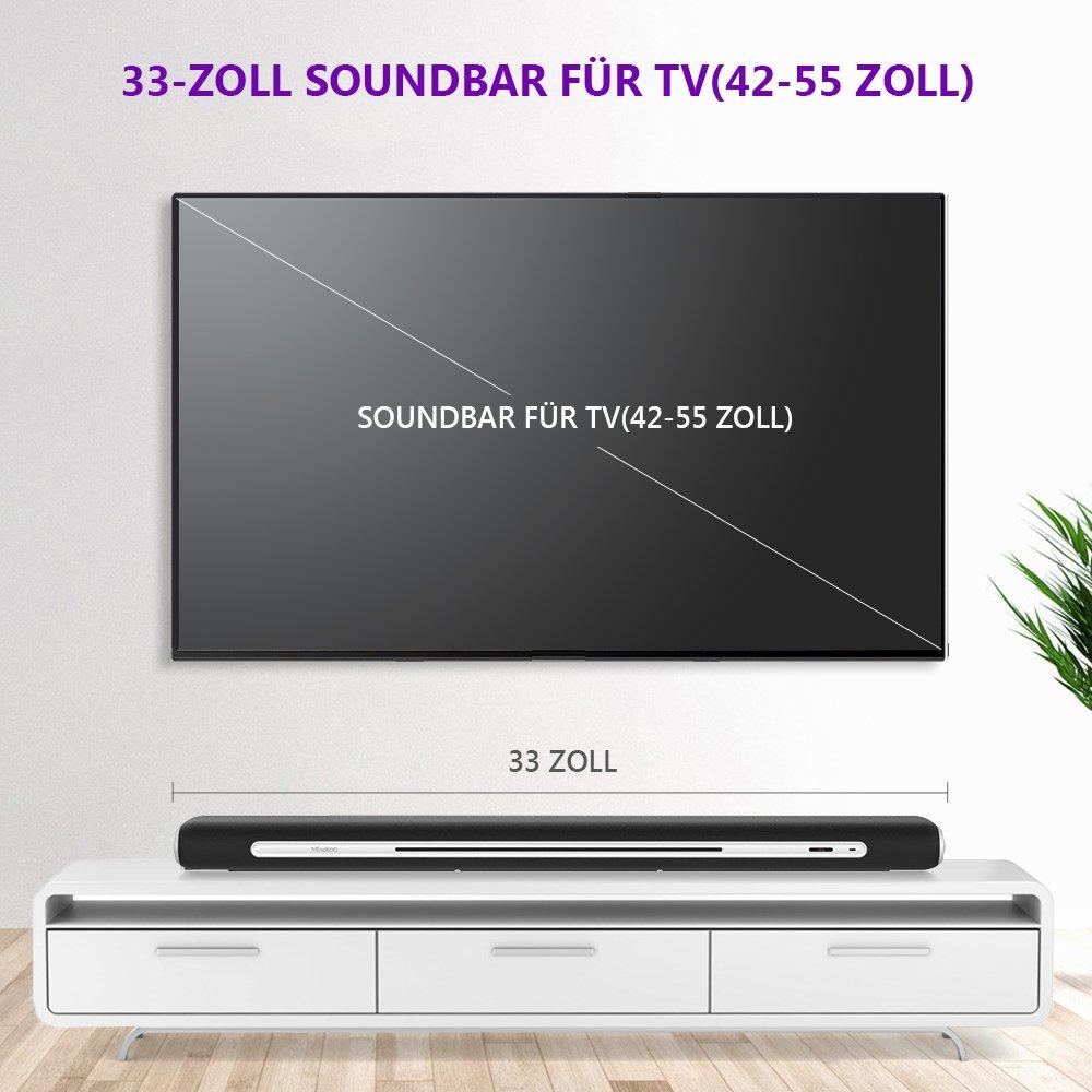 Soundbar, MindKoo 33-Zoll Kräftige Bass-Sound-Bar Verdrahtete und ...