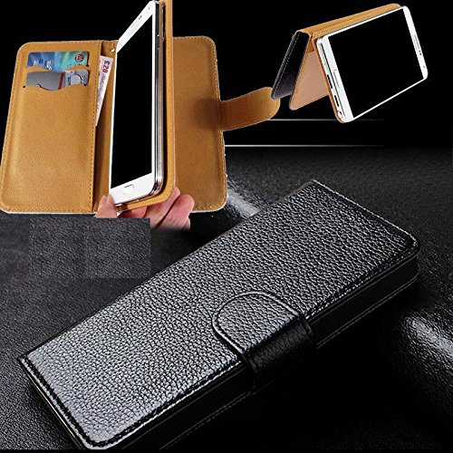 Universal PU Leather Purse/Clutch/Pouch/Wallet Fits Apple Samsung LG Motorola etc. Women's Cute Wristlet Strap Flip Case Black - Medium. Fits The Models ()