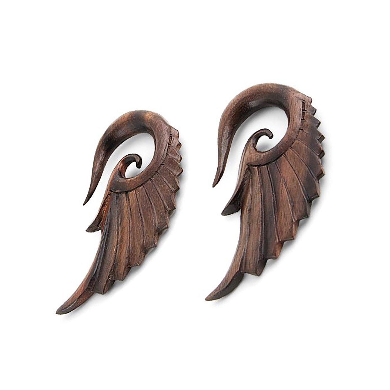 Pair Angel Wing Design Organic Sono Wood Hanging Hook Ear Plugs Gauges (14 Millimeters)