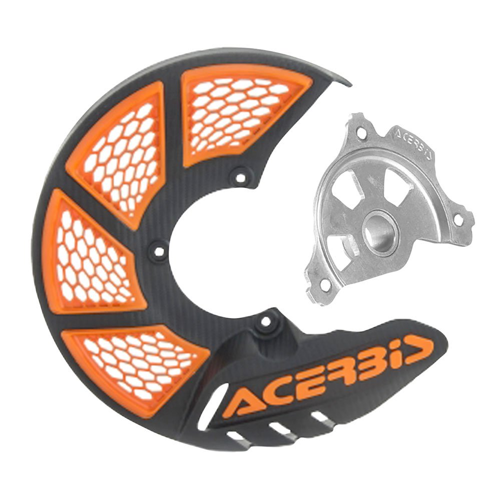 Acerbis X-Brake Vented Front Disc Cover with Mounting Kit Black/Orange - Fits: KTM 250 SX-F 2005-2014