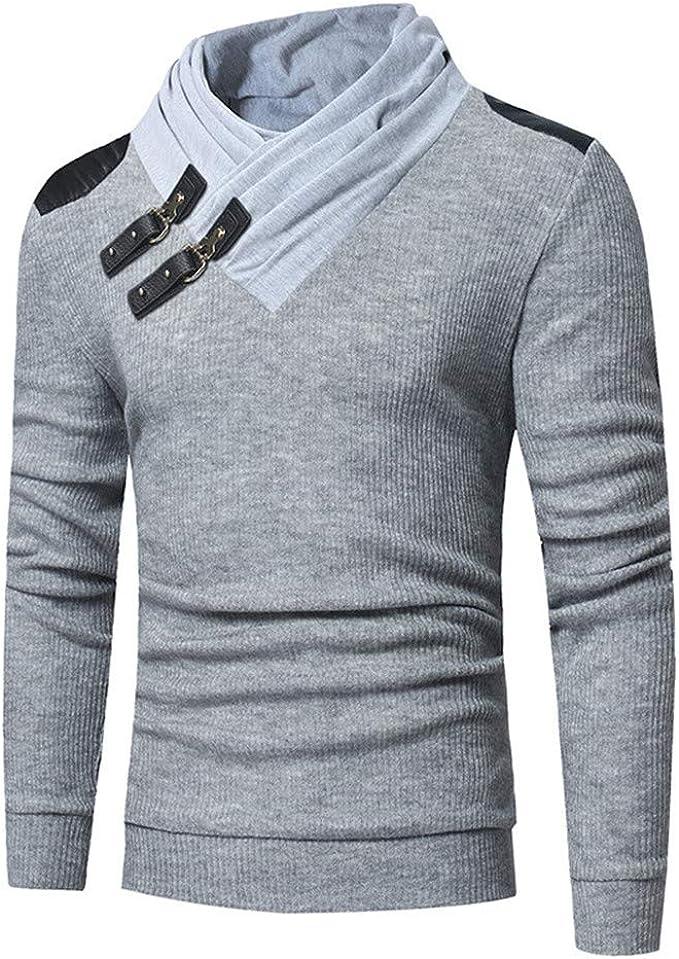 Discount Boutique suéter Moda Masculina Color sólido Cuello de Punto Hebilla de Cuero Costura suéter Delgado de Manga Larga: Amazon.es: Ropa y accesorios