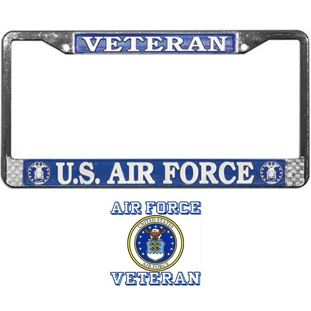 US Air Force Veteran License Plate Frame Bundle with a US Air Force Veteran Decal//Sticker