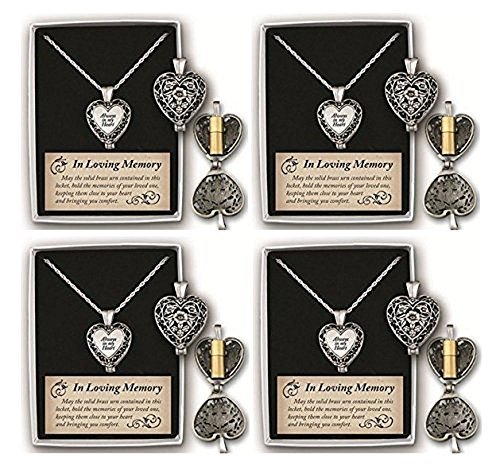 4 Pack Always in My Heart Memorial Urn Locket-filigree Pewter Tone Gift Box (Pewter Urn Pendant)