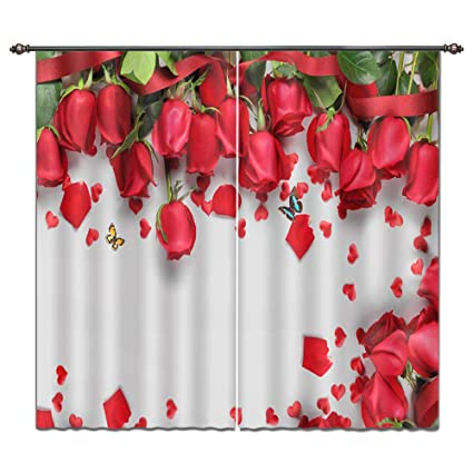 Amazon Com Lb Bright Red Roses Scenery View Print 3d Blackout