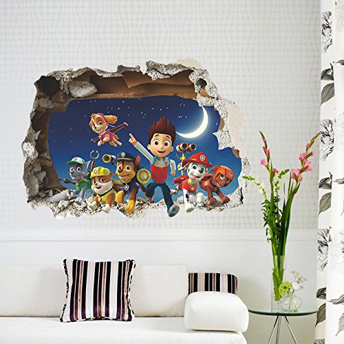 EMIRACLEZE Christmas Gift 3D Stereo Breaking Wall Cartoon Patrol Children Room background Removable Mural Wall Stickers Wall Decal for Living Room and Bedroom Wall and Home Decor