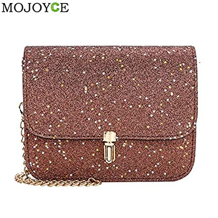 Amazon Com Shining Pu Leather Women Handbag Long Chain Messenger