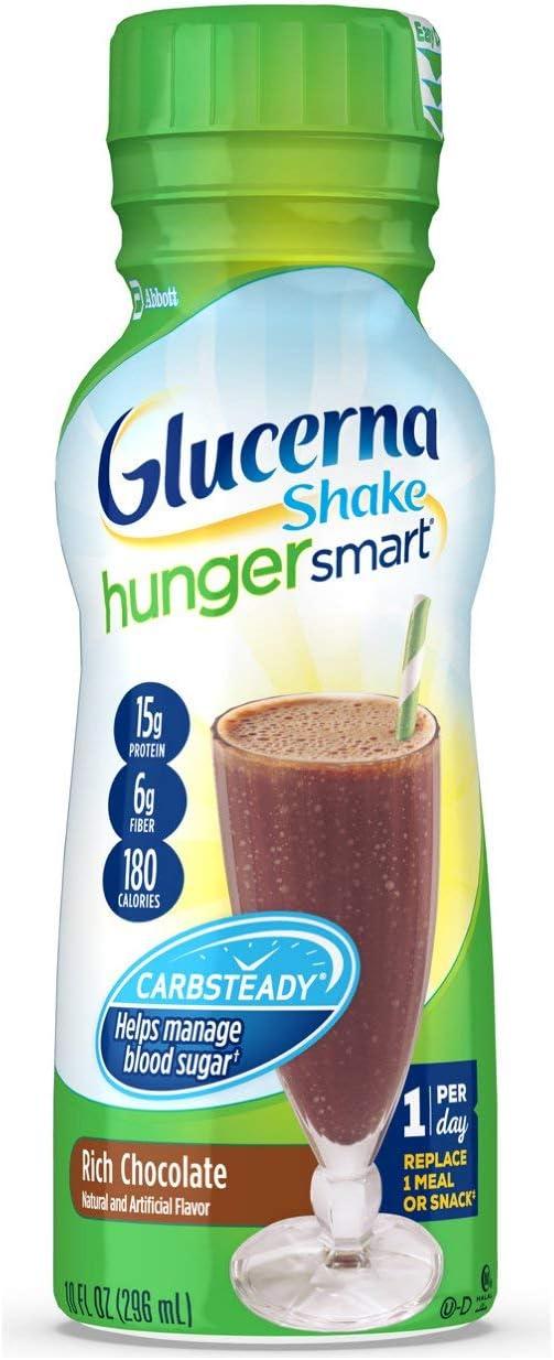 Glucerna Hunger Smart, Diabetes Nutritional Shake, To Help Manage Blood Sugar, Rich Chocolate, 10 Fl Oz, 24 Count