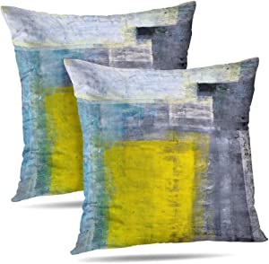 Alricc Set of 2 Teal Grey and Yellow Art Modern Contemporary Office Wall Decorative Throw Pillows Cushion Cover for Bedroom Sofa Living Room 18X18 Inches