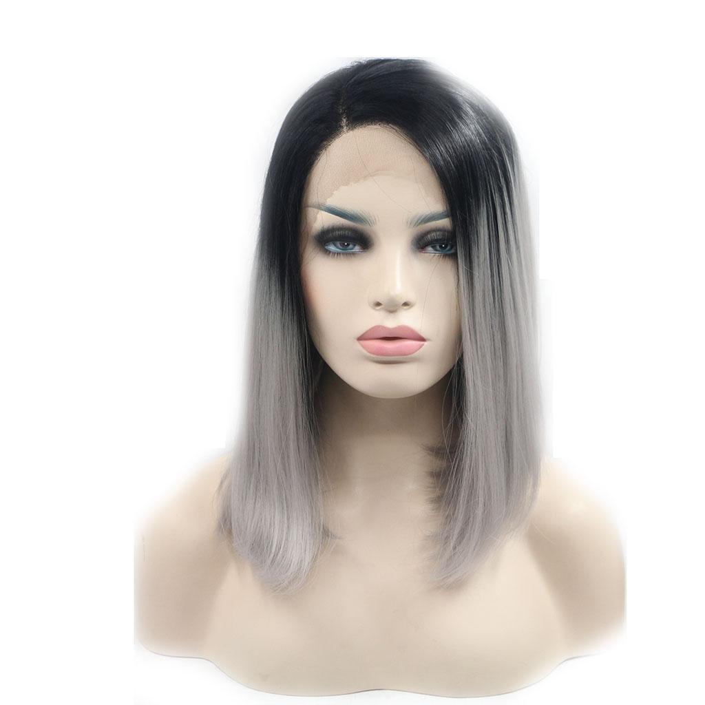 XY-QXZB Pelucas Europa y los Estados Unidos Miss cosplay recta gradiente gris frente cordón de fibra química peluca cabeza cubierta