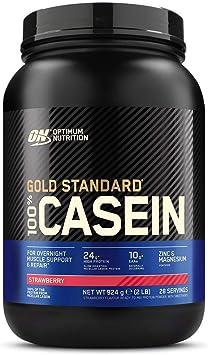 Optimum Nutrition Gold Standard Casein, Proteinas de Caseina en Polvo con BCAA Aminoacidos Esenciales, Zinc y Magnesio en Polvo, Fresa, 28 Porciones, ...