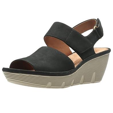 6e6d1d6fd40 Clarks Clarene Allure Womens Wide Wedge Heel Sandals 3 Black  Amazon ...