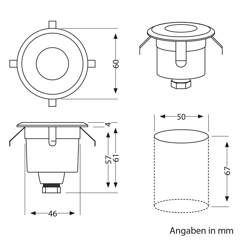parlat LED Bodeneinbauleuchte AGENA f/ür au/ßen warm-wei/ß 60mm /Ø 230V IP65 7lm