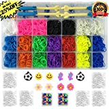 Kiserena Upgrade Loom Kit w/ 4000 Rainbow Rubber Bands in 10 Colors, Premium Loom Board, 2 Metal Hooks, 2 Plastic Hooks, Mini Looms, 170 S Clips, 10 Charms and Beads - Fun Bracelet Making Set w/ Organizer Case