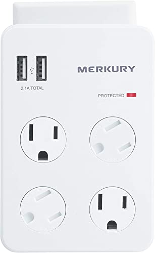Merkury Innovations 4 Outlet Wall Mount Adapter Surge Protector with Dual USB Port, Multi Plug Outlet Extender USB Charger,