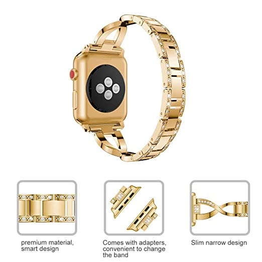 Dassions Metal Cuff Bangle Bracelet Bling Rhinestone Diamond Wristband X-Link Glitzy Strap Band for Apple Watch Band 38mm 40mm Women Iwatch Series 5, ...