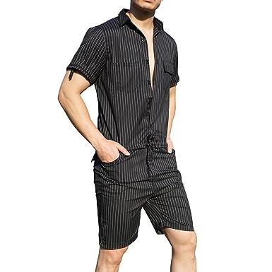 f3ff269ae95f YOUMU Men Hip-Hop Short Sleeve Striped Romper Suit Jumpsuit Playsuit  Overalls One Piece Black