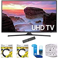 Samsung 55 4K Ultra HD Smart LED TV 2017 Model (UN55MU6300) with 2x 6ft High Speed HDMI Cable, Screen Cleaner for LED TVs & Stanley 6-Outlet Surge Adapter with Night Light